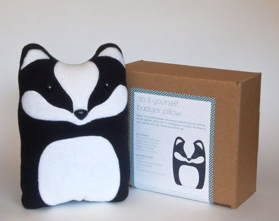 Plush Craft Animal Friends Pillow Kit : DIY Kit Badger Woodland Pillow Plush Fleece Fabric Animal