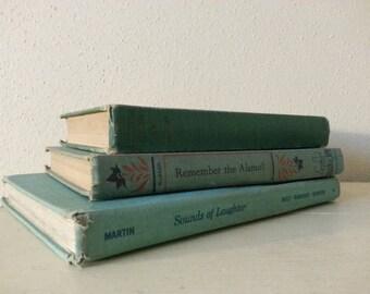 Vintage Book Set - 3 Teal Vintage Books- Home decor Book Collection