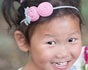 Pink Gray Headband ,Gray Pink Lace  Headband for Babies Toddlers Girls