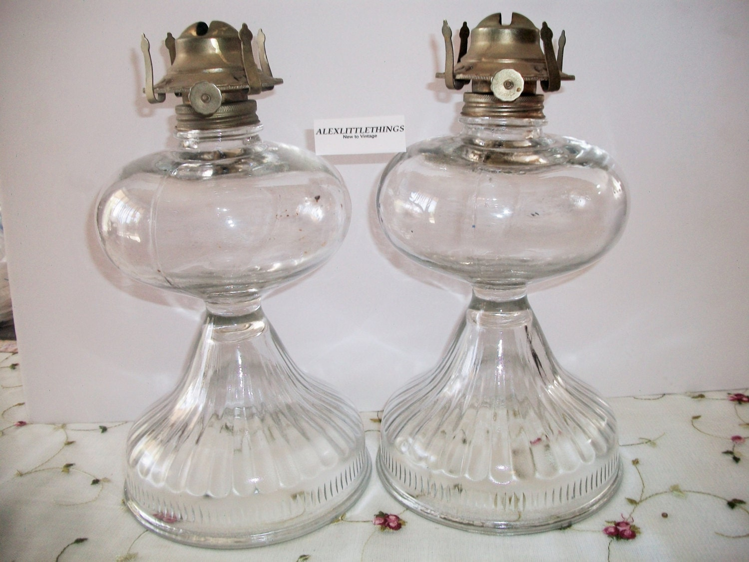 Antique Vintage Glass Oil Lamps Queen Anne Burners Large