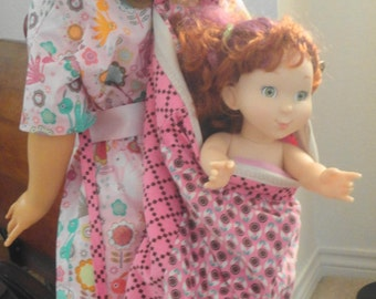 "Girl's Doll Backpack, 18"" Doll Carrier, Corduroy Doll Backpack, Sleepover Backpack, American Girl Doll Carrier or Backpack"