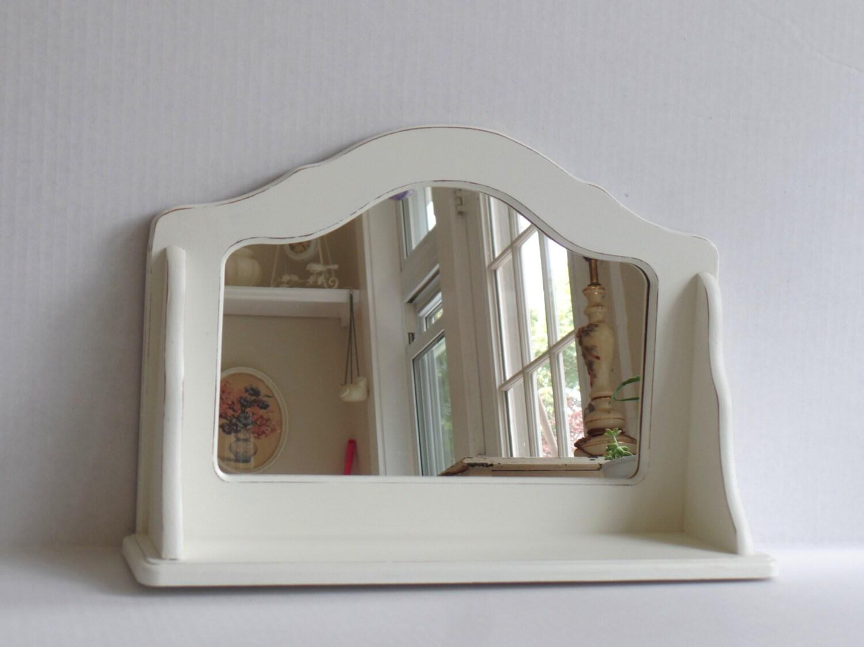 shelf with mirror shabby chic wood wall display shelf. Black Bedroom Furniture Sets. Home Design Ideas
