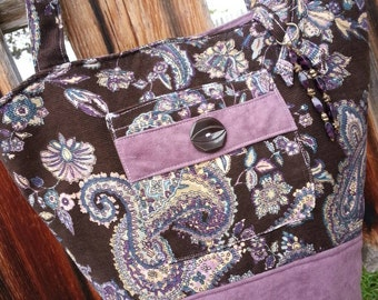Purple Suede & Corduroy Tote with  Pockets