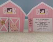Pink Barn Birthday Invitation Barnyard Invite Farm Invitation