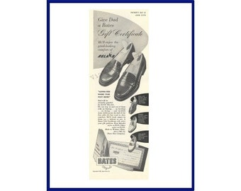 Father's Day Theme / BATE'S MEN'S SHOES Original 1948 Vintage Black & White Print Ad - Loafer, Oxford and Derby Shoes