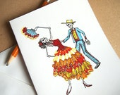 PDF Salsa Dancing Couple printable Greeting Card Instant Download Party Invitation Blank Spanish Mexican Flamenco Ballroom Party digital DIY