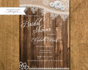 Rustic Bridal Shower Invitation. Lace Detail, Fabric Flower and Broach