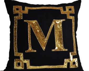 Gold Monogram Pillow Cover, Personalized Gift, Sequin Pillow, Mother's gifts, Decorative Pillow covers, Monogram Cushion, Mother's day gifts