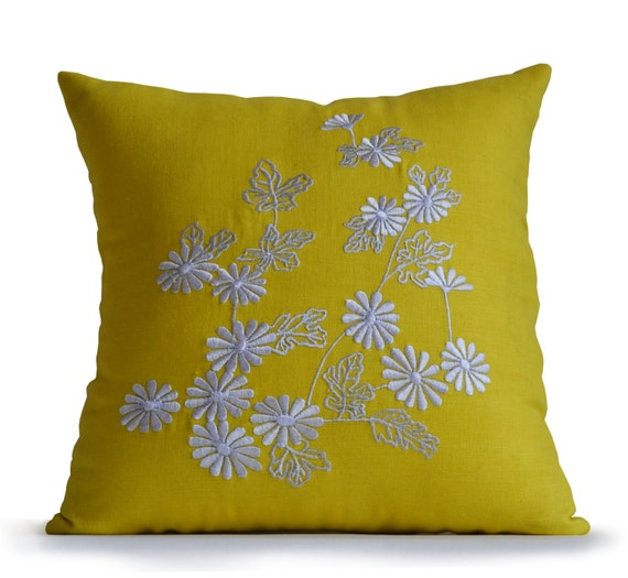 Yellow Linen Throw Pillow : Yellow Linen Decorative Throw Pillow Cover White Daisy