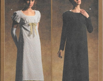 Simplicity 4055, 1795 to 1825 style Misses Dress Sewing Pattern, Downton Abbey Dress Pattern, New uncut pattern size 14-20