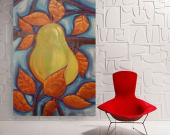 "pear painting dining room art pear art contemporary artwork on unstretched canvas 64"" by Ksavera large wall art"