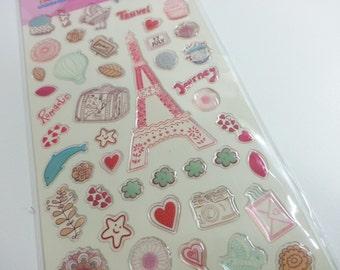 Landmark PVC Stickers - Pink - 1 Sheet