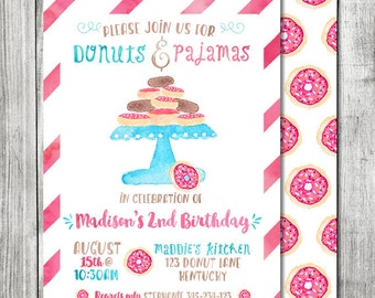 Watercolor Donuts and Pajamas Birthday - Donut Invitation - 5x7 JPG (Front and Back Design)