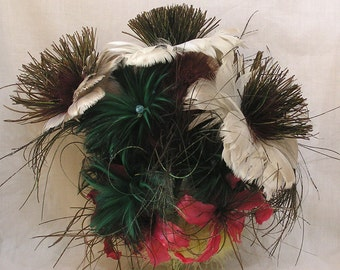 Vintage FEATHER Bouquet Fabulous Plumes Various Types Many Colors Great Feathers for Crafts