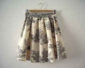 Toile de Jouy Skirt // Grey Toile High Waisted Skirt // Dark Grey and Cream Pleated Skirt // Toile Print // Made to Order