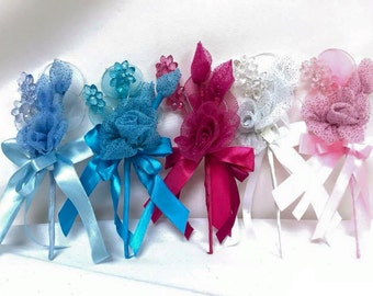 Organza Flower Corsages with Acrylic Flowers