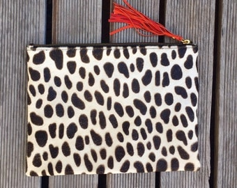 MEDIUM Dalmatian Cows Hide Clutch- Animal Print Case with Suede Lining & Leather Tassel - iPad MINI Case, iPad Cover