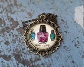 Nail Love Necklace Bohemian Art Floral Nail Polish Design Henna Mehndi Vintage Style Hand Drawn Handmade Jewelry Happiness Symbolism