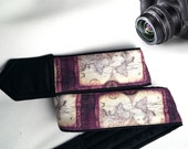World Map Camera Strap. Vintage Camera Strap. Purple Camera Strap. Camera Accessories