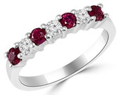 Fine Red Ruby & Diamond Anniversary Ring Wedding Band 14k White Yellow Rose Pink Gold