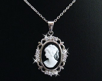 Black Cameo: Victorian Woman Black Cameo Necklace, Stering Silver, Vintage Inspired Romantic Victorian Jewelry, Romantic Gift for Her