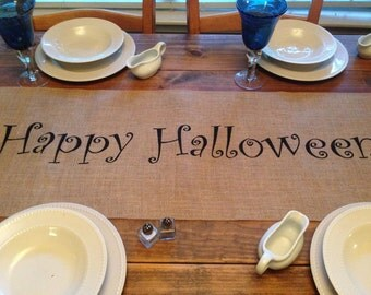 """Burlap Table Runner  12"""", 14"""", or 15"""" wide with Happy Halloween in the center - Holiday decorating Halloween decor Home decor"""