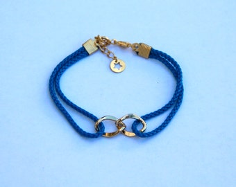 Sailor bracelet - Navy blue cordage and gold plated elements and chain - Blue riggings, gold plated infinity sign - Summer fashion