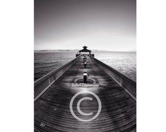 B&W Pier photo seascape 8x10 fine art photography print beach decor ocean