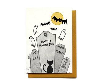 Halloween Card - Graveyard - Happy Haunting