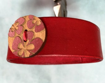 Womens red cuff with red flower button, red bracelet cuff with red flower, red braclet.