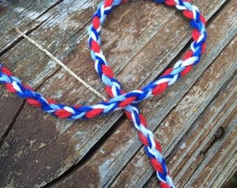 Red, White, and Blue braided bracelet patriotic friendship bracelet nautical bracelet american bracelet