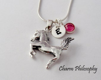 Horse Necklace - 925 Sterling Silver Jewelry - 3D Double Sided Horse Pendant - Personalized Initial and Swarovski Birthstone
