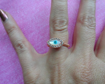 Evil eye  crystal rose gold or silver band ring