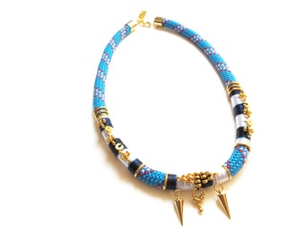 NAUTICA - ethnic chic rope necklace with spikes, statement necklace, thread wrapped, ethnic jewelry, boho chic necklace, african necklace