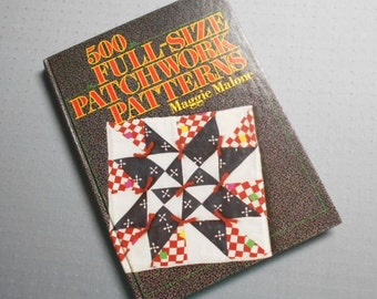 """Vintage 80s 500 Full Size Patchwork Quilt Patterns Malone Designs Instructions Quilting Sewing 8"""" 9"""" 10"""" 12"""" 16"""" 18""""  Block Sizes"""