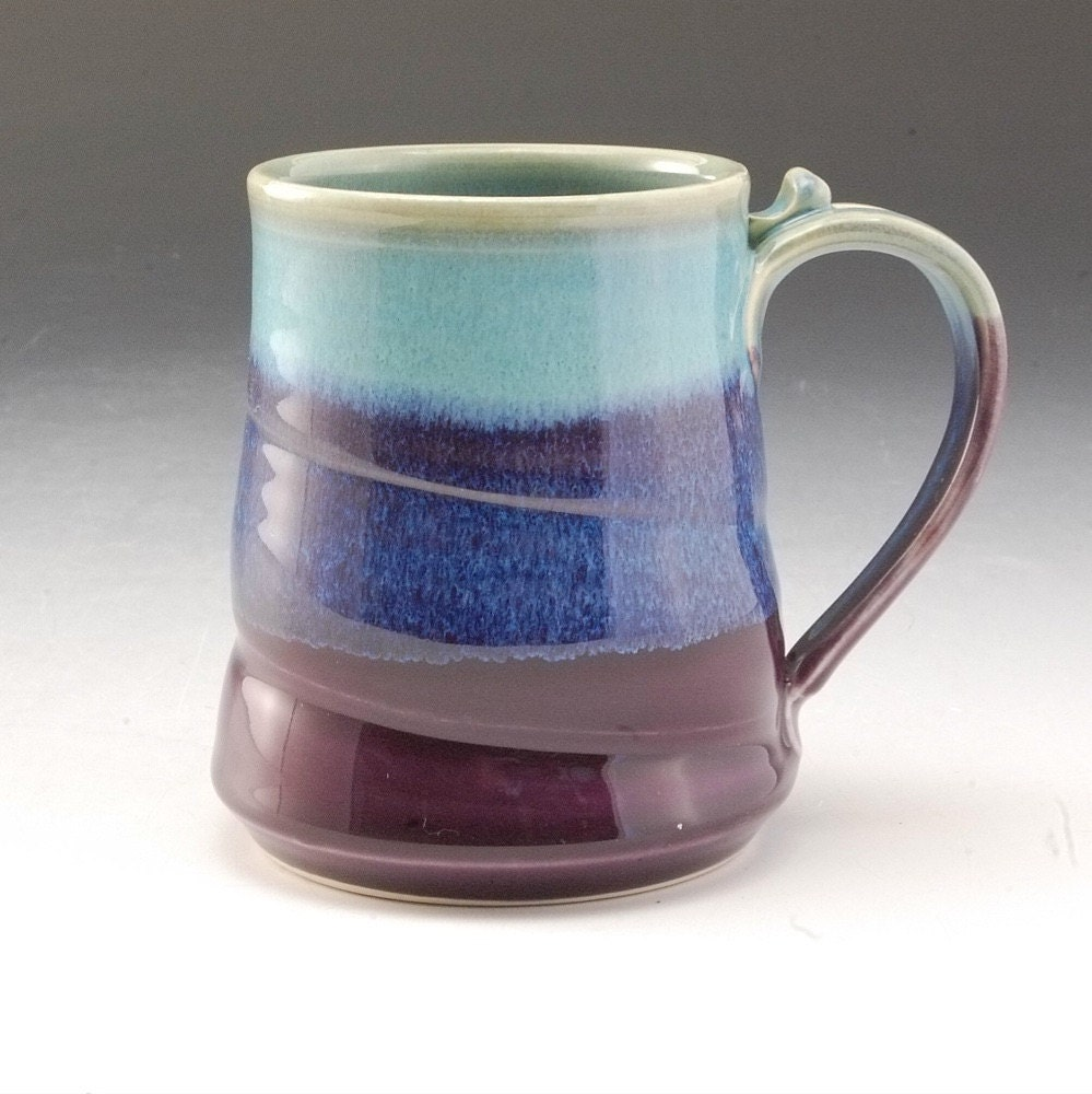 Handmade stoneware pottery mug turquoise and by markspottery for Handmade dinnerware