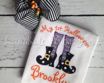 Personalized Halloween Applique Shirt, witch, feet, bow, fall, girl, boots, first Halloween