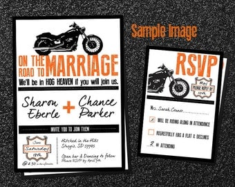 biker motorcycle wedding invitation, Wedding invitations