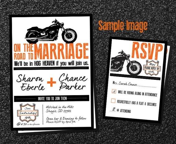 Biker Wedding Invitations: Blank Biker Wedding Invitations