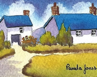 ACEO,Original Watercolour, Welsh Farmhouse, Miniature painting, Gift Idea ,Art and Collectibles