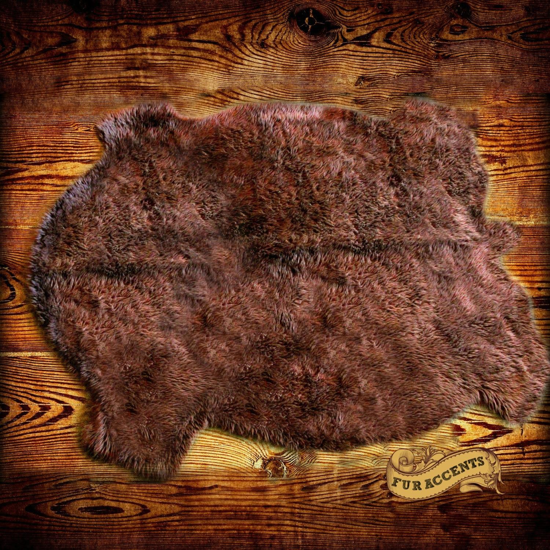 FUR ACCENTS Buffalo Hide / Bear Skin Pelt Area Rug / By