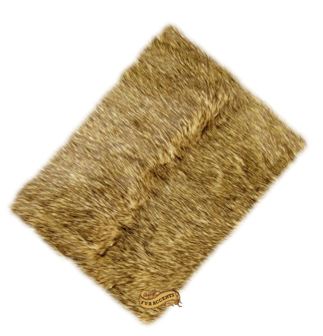 FUR ACCENTS Faux Fur Rug / Light Golden Wolf / Coyote