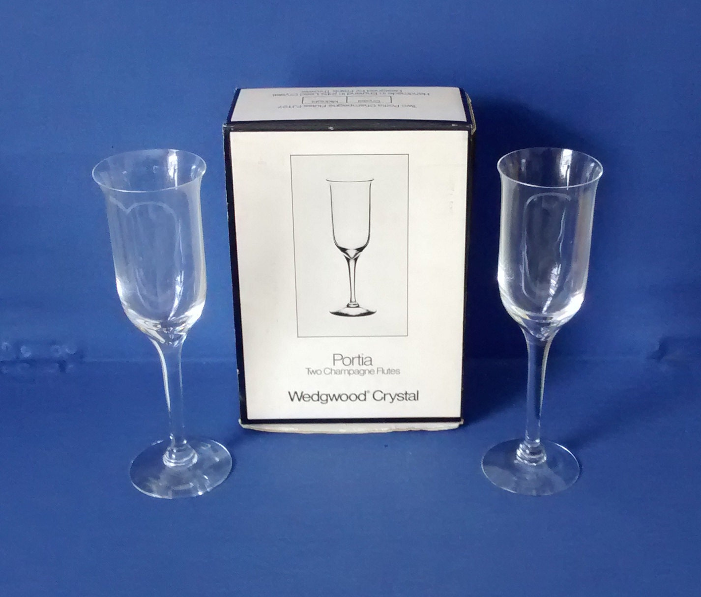 Pair wedgwood crystal portia champagne glasses frank thrower - Wedgwood crystal wine glasses ...