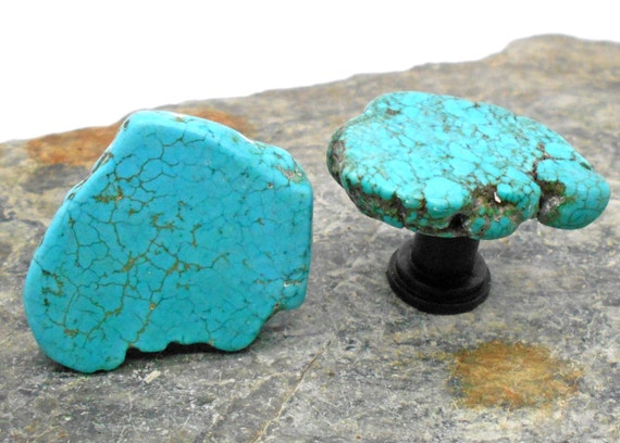Turquoise cabinet knobs standard size set of 2 by for Turquoise door knobs