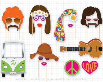 Hippie Party Photo Booth Props, 1960s Photobooth Props, Wedding Photo Booth, Birthday Party, Woodstock, Flower Child, Peace Hippie Van, Love