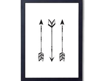 """Three arrows (black), A4 8x10"""" A3 or 11x14"""", printed"""