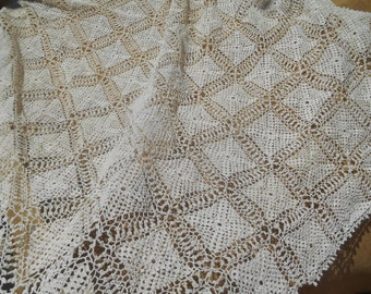Victorian Off White Fine Lace Tablecloth Hand Crochet French Cotton Tablecloth
