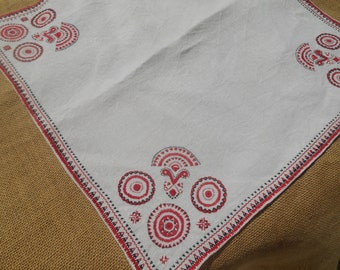 Large Tribal Linen Table Center Handmade Red and Black Embroidered Doily Sewing Assemblage #sophieladydeparis