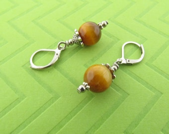 tiger eye dangle earrings with stainless steel earwires