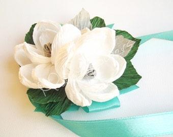 Wedding paper flowers,paper flowers,paper flower corsage,corsage magnolias,wedding flower,bridal corsage.